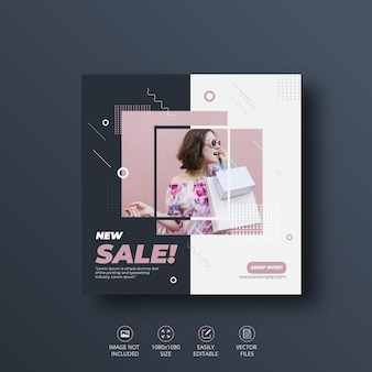 New sale social media banner or  square flyer   template