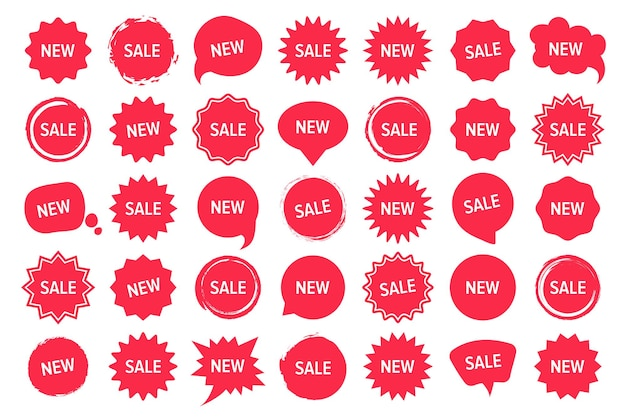 New and sale tags collection in red