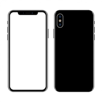 New smartphone front and back isolated