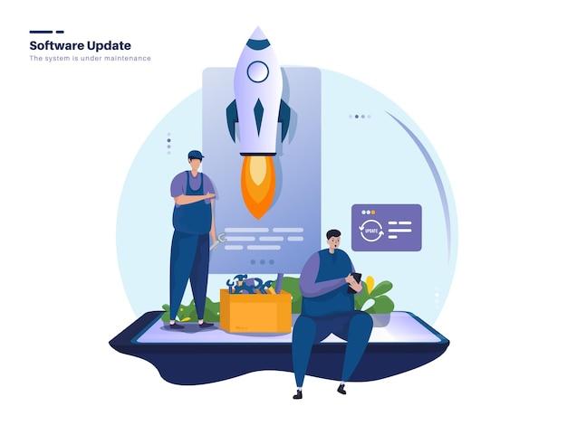 Новое обновление программного обеспечения или иллюстрация обслуживания