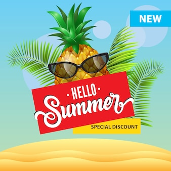 New special discount, hello summer poster with cartoon pineapple in sunglasses