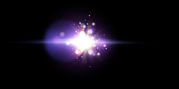 새로운 스타 폭발, 그림에 대한 밝은 조명 효과.