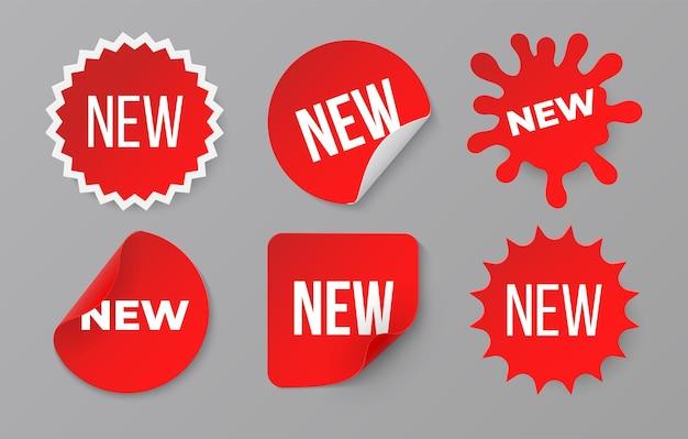 新しいステッカーセット。販売商品の赤いバッジラベル。ウェブストアのベクトル画像シンボルの最小販売バナー