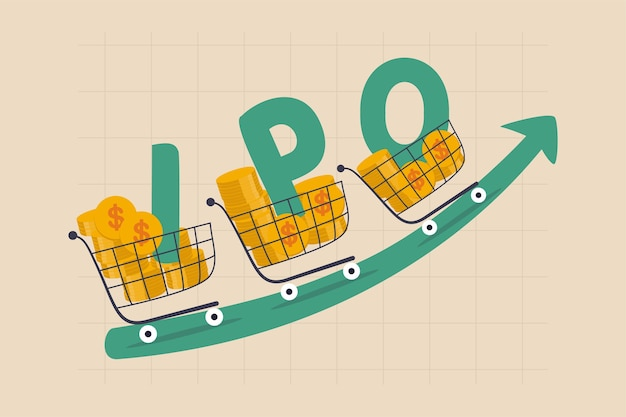 New stock ipo, initial public offering company going public to trade in stock exchange market concept