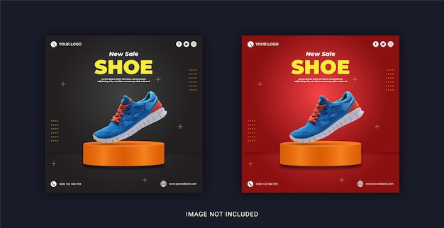 Новая стильная коллекция кроссовок instagram banner post в социальных сетях