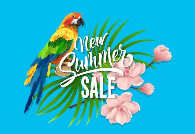 Новые летние надписи на продажу. творческая надпись с тропическими листьями, розовый цветок
