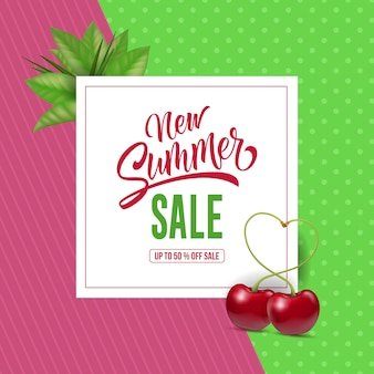 New summer sale lettering with cherries. summer offer or sale advertising