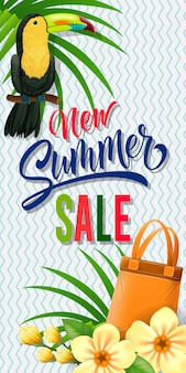 New summer sale lettering with toucan and bag. summer offer or sale advertising