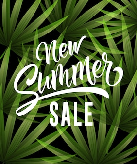 New summer sale lettering with tropical leaves. Summer offer or sale advertising
