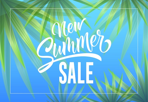 New summer sale seasonal advertising with palm leaves on sky blue background.