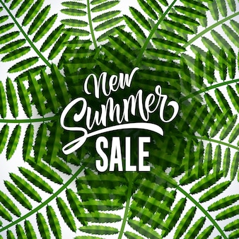 New summer sale seasonal poster with tropical leaves on white background.