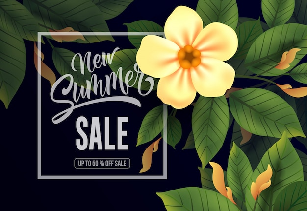 New summer sale up to fifty percent off lettering.