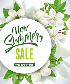 New summer sale up to fifty percent off sale lettering.
