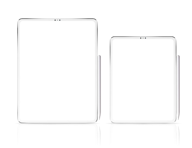 New tablet pro x  illustration. smart professional tablet with graphic pencil.