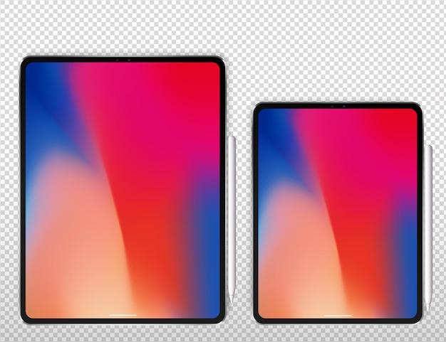 新しいタブレットプロxベクトルイラスト。グラフィック鉛筆でスマートなプロのタブレット。白で隔離。