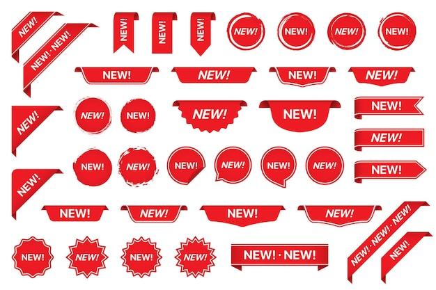 빨간색으로 새 태그 스티커 라벨 컬렉션