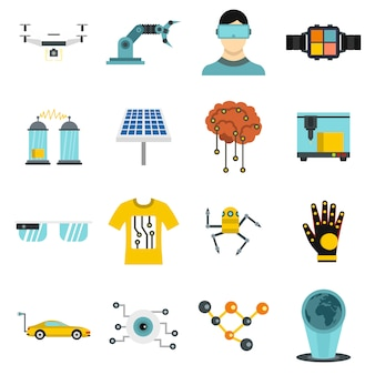 New technologies icons set in flat style