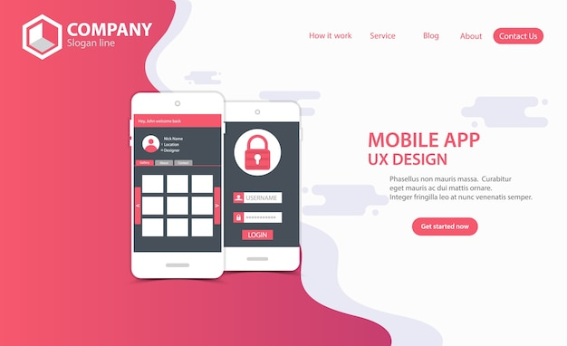 New trendy mobile app website landing page