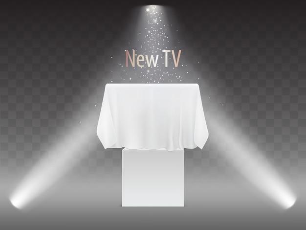 Новая концепция телевидения, выставка с экраном в свете проекторов. макет плазменного телевизора