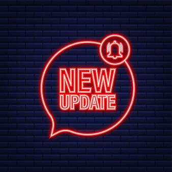 현대적인 스타일의 새로운 업데이트 배너입니다. 네온 아이콘입니다. 웹 디자인. 벡터 재고 일러스트 레이 션.