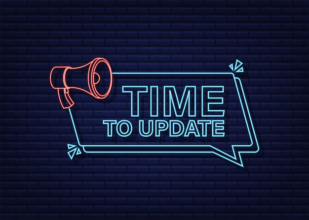 Новый баннер обновления в современном стиле. неоновая иконка. веб-дизайн. векторная иллюстрация штока.