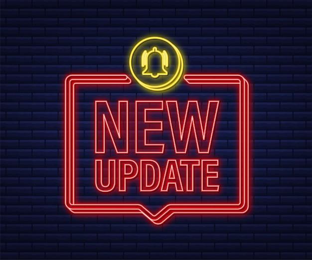 Новый баннер обновления в современном стиле. веб-дизайн. неоновая иконка. векторная иллюстрация штока.
