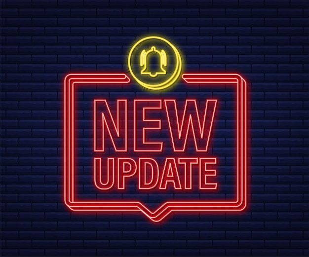 New update banner in modern style. web design. neon icon. vector stock illustration.