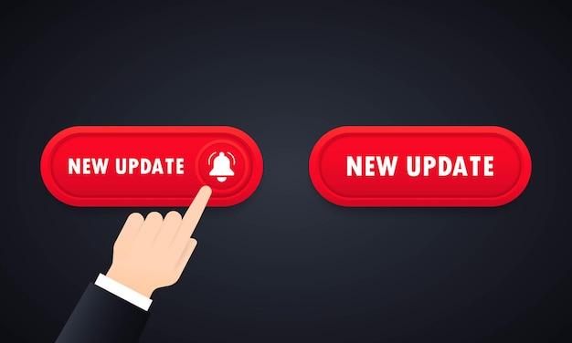 손으로 클릭하는 새로운 업데이트 버튼. 손으로 새 업데이트 버튼을 누릅니다. 새로운 업데이트 버튼 아이콘 세트. 웹 사이트 용.