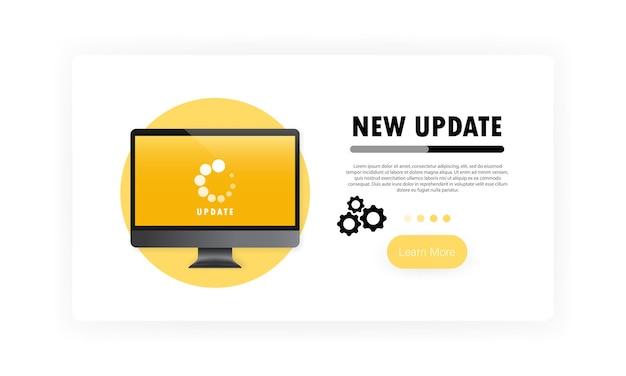 コンピューターバナーの新しい更新。システムソフトウェアの更新とアップグレードの概念。モニター画面での読み込みプロセス。孤立した白い背景の上のベクトル。 eps10。