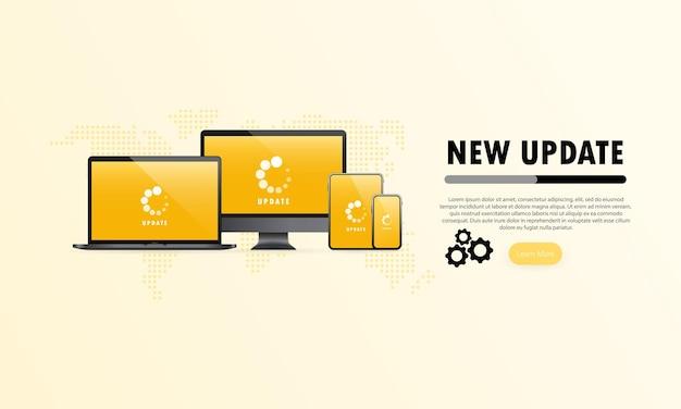 デバイスバナーの新しいアップデート。更新プロセスを備えたコンピューター、ラップトップ、タブレット、スマートフォンの画面。孤立した白い背景の上のベクトル。 eps10。