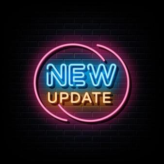 Новое обновление неоновая вывеска неоновый символ