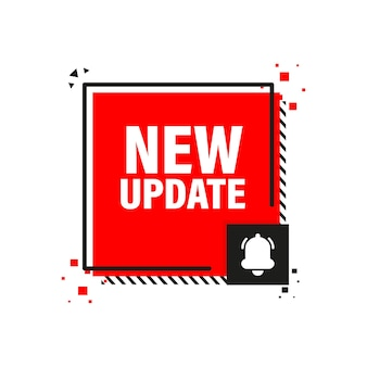 New update red label on white