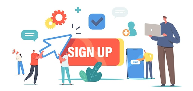 New user online registration and sign up concept. tiny characters signing up or login to account on huge smartphone. secure password, mobile app, web access. cartoon people vector illustration