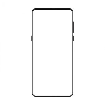フレームレスのトレンディでモダンなsmatphoneの新バージョン。ビジュアルui、アプリ、広告イラストの黒の現実的な携帯電話スマートフォンモックアップ。