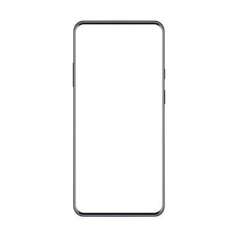 フレームレスのトレンディなモダンなベクトルsmatphoneの新しいバージョン。黒の現実的な携帯電話のスマートフォンのモックアップ。ビジュアルui、アプリ、広告に使用できます。