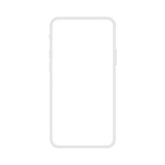 ソフトホワイトフレームレスディスプレイモダンスマートフォンの新バージョン。携帯電話スマートフォン現実的なモックアップイラスト