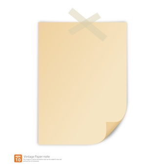 New vintage paper with tape for note vector format