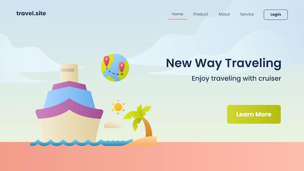New way traveling campaign for web website home homepage landing