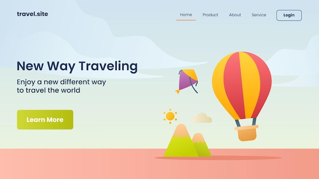 New way traveling campaign for web website landing page