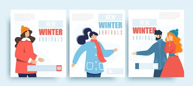 New winter arrival shop sale social media templates
