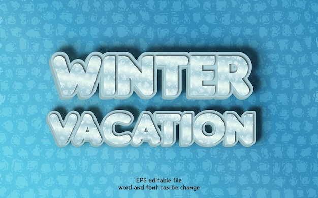 New winter vacation vector editable 3d text effects