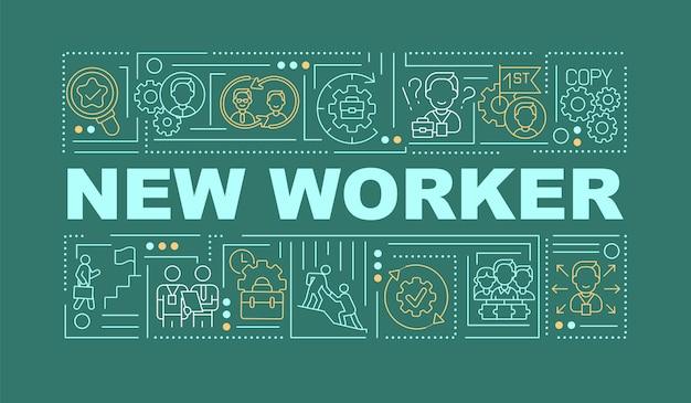 新しい労働者のグリーンワードの概念のバナー。人事管理。従業員の適応。ターコイズブルーの背景に線形アイコンとインフォグラフィック。孤立したタイポグラフィ。図