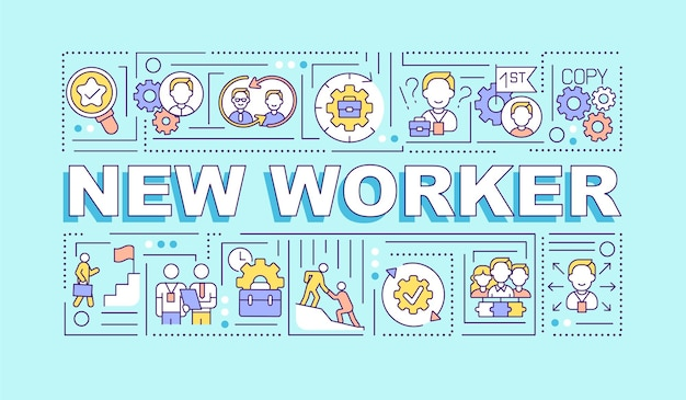 New worker word concepts banner. hr management. employee adaptation. infographics with linear icons on turquoise background. isolated typography.  outline rgb color illustration