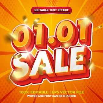 New year 01 01 orange white bold 3d editable text effect template style