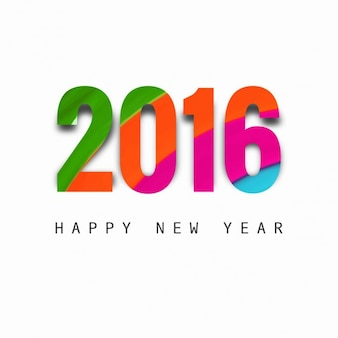 New year 2016 card with colorful numbers