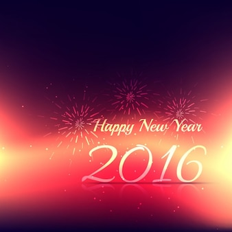 New year 2016 card with fireworks