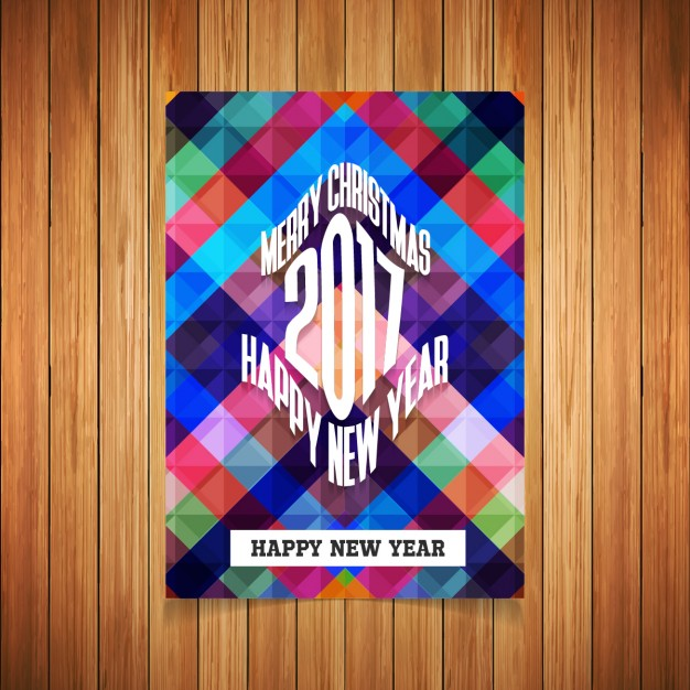 New year 2017 colorful squares greeting card