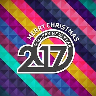 New year 2017, polygonal background