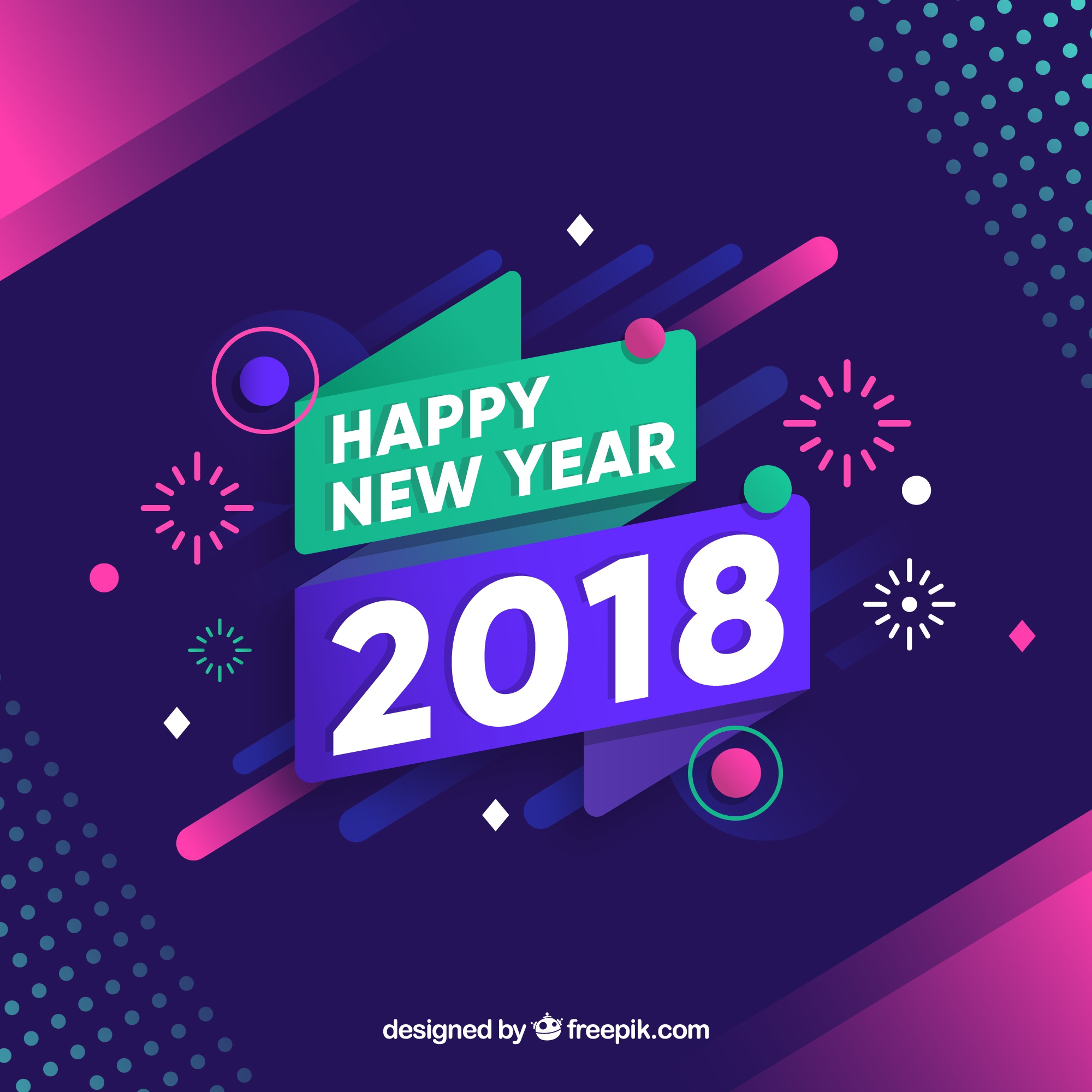 New year 2018  background with fireworks