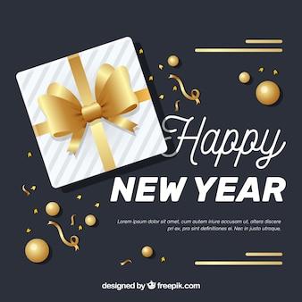 新しい年2018の背景と黄金の弓